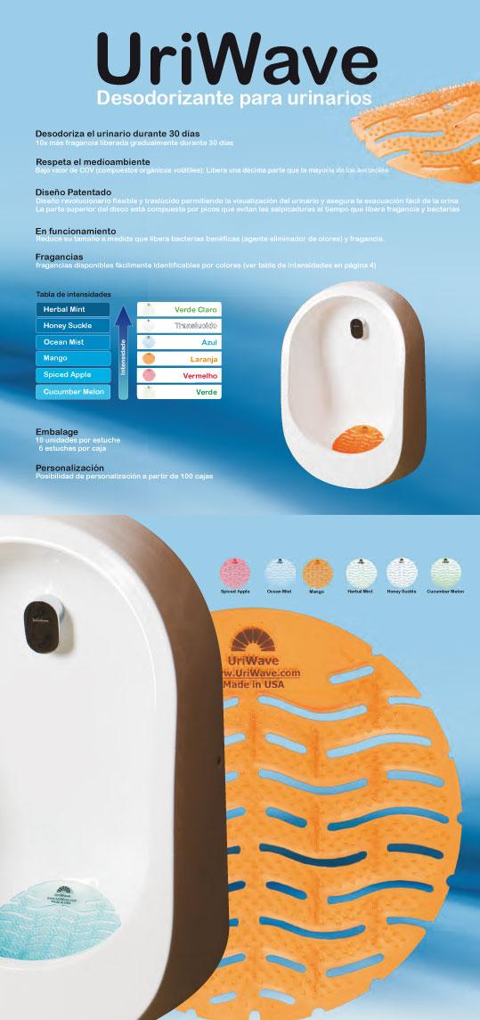 Ambientador de agradable y intenso olor especialmente diseñado para urinarios que permite eliminar radicalmente el mal olor durante más de 30 días
